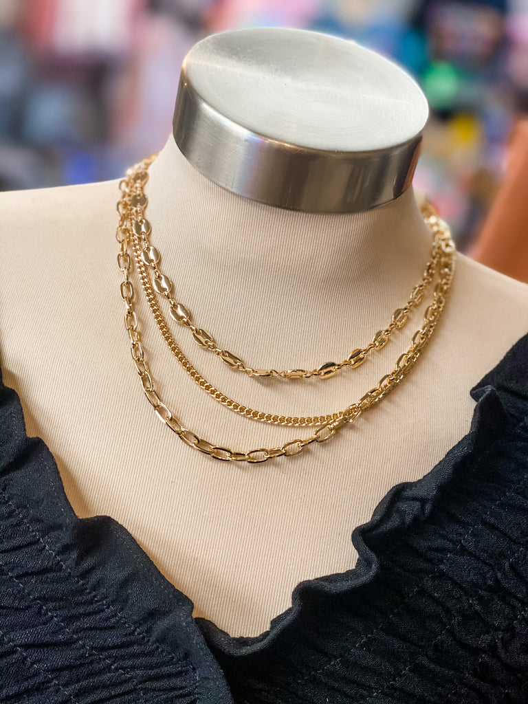 triple layer chain necklace