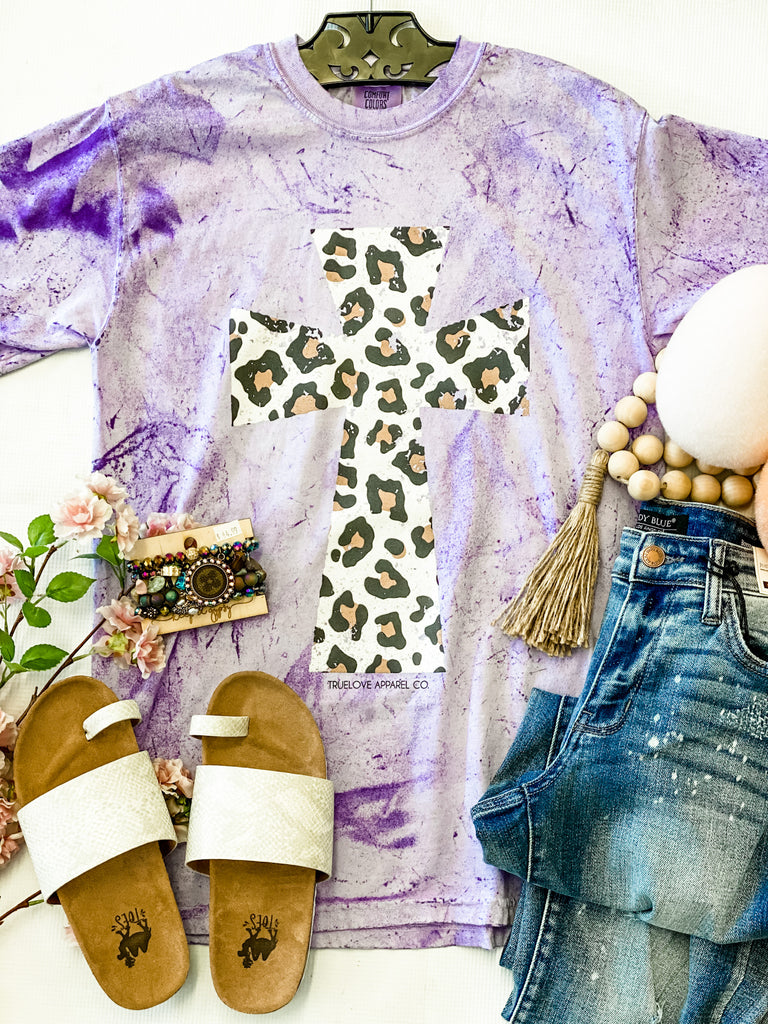 Purple Leopard Cross Tee