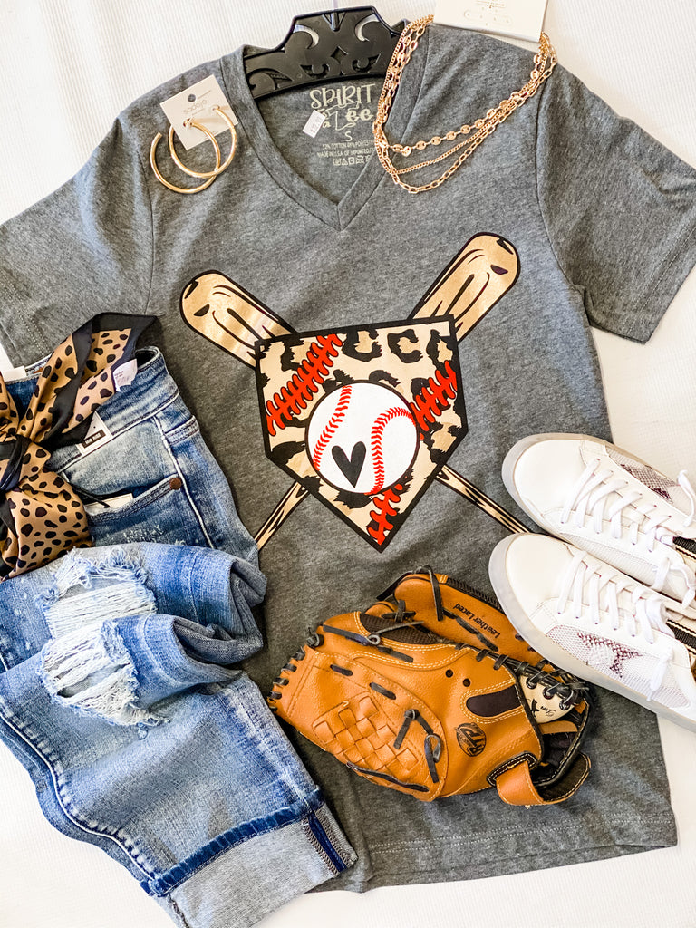 Batter Up Leopard Tee