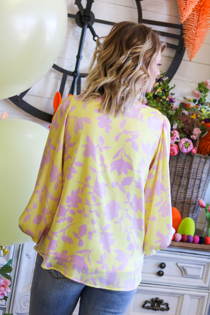 amber yellow floral top