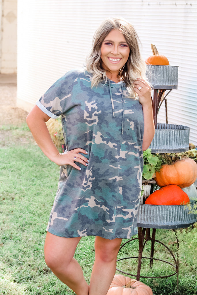 camo hooded dress