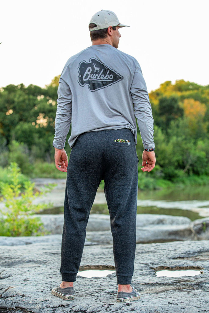 Black Fleece Joggers-Camo Pocket