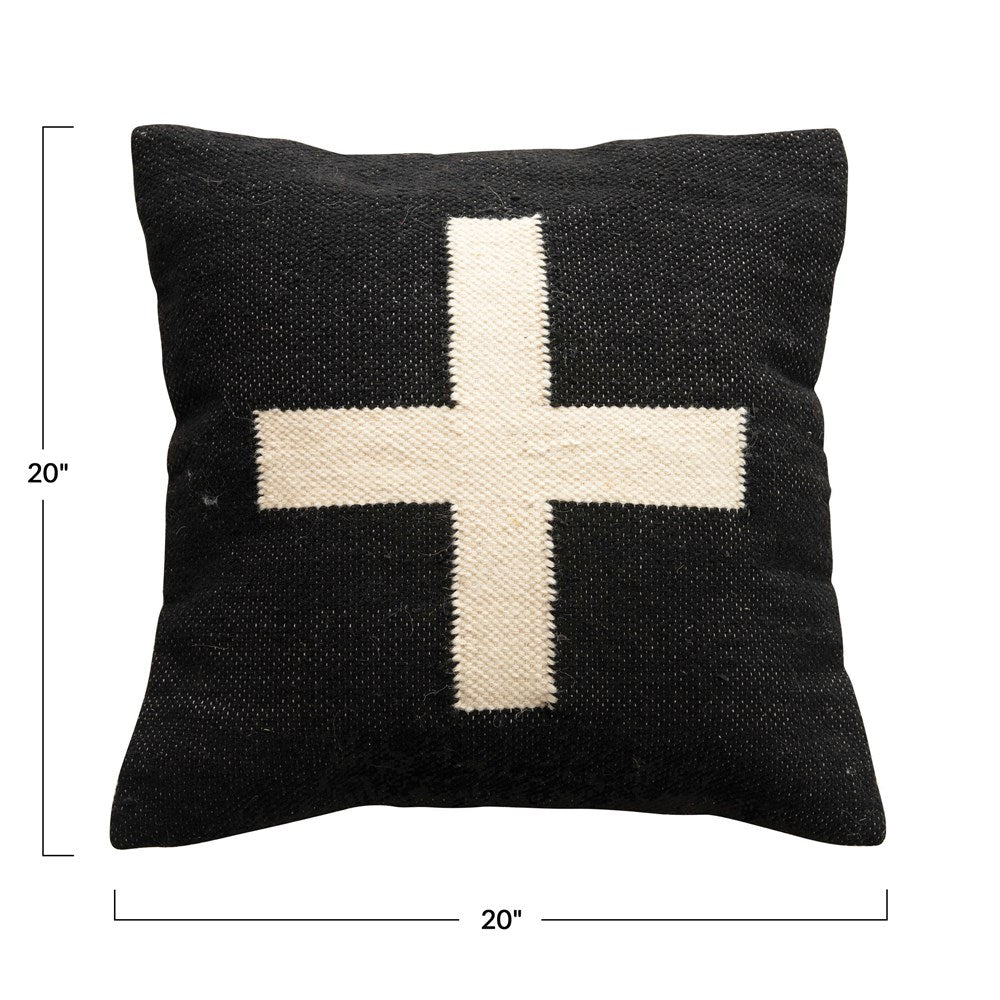 Wool Pillow with Swiss Cross