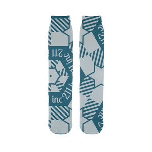 211INC Teal/Grey Logo Printed Tube Sock - 211 INC