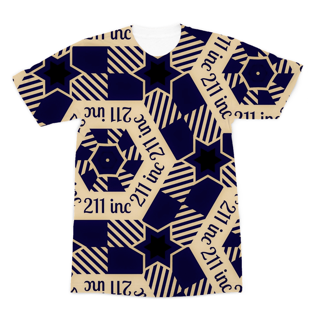 211INC Mens Navy/Tan Printed Logo T-Shirt - 211 INC