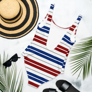 One piece white striped swimsuit