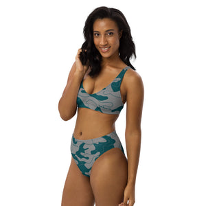 Women's teal camouflage high wasted two piece bikini