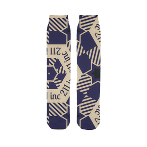 211INC Blue/Tan Logo Printed Tube Sock - 211 INC