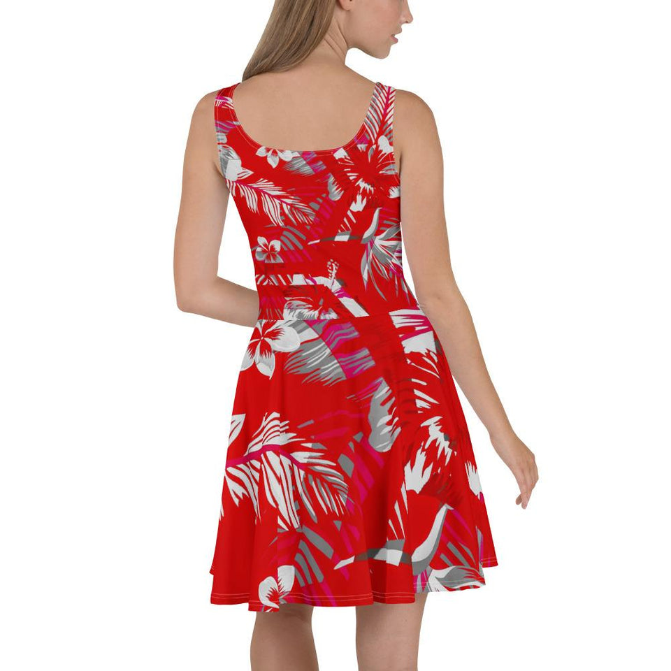 Women's Red Floral Skater Dress - 211 INC