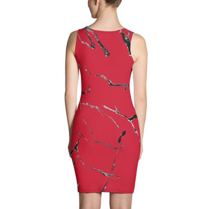 Womens Red n Black Marble Fitted Cut & Sew Dress - 211 INC