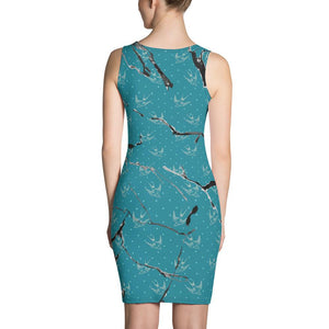 Womens Green & Black Marble Fitted Cut & Sew Dress - 211 INC