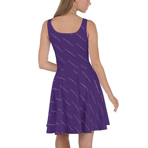Womens Purple n Straw Patterned Skater Dress - 211 INC