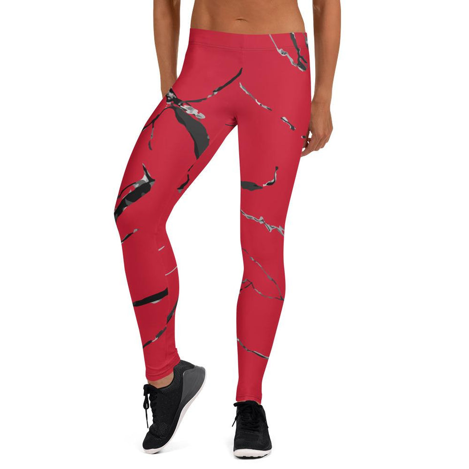 211INC Womens Red Marble Leggings - 211 INC