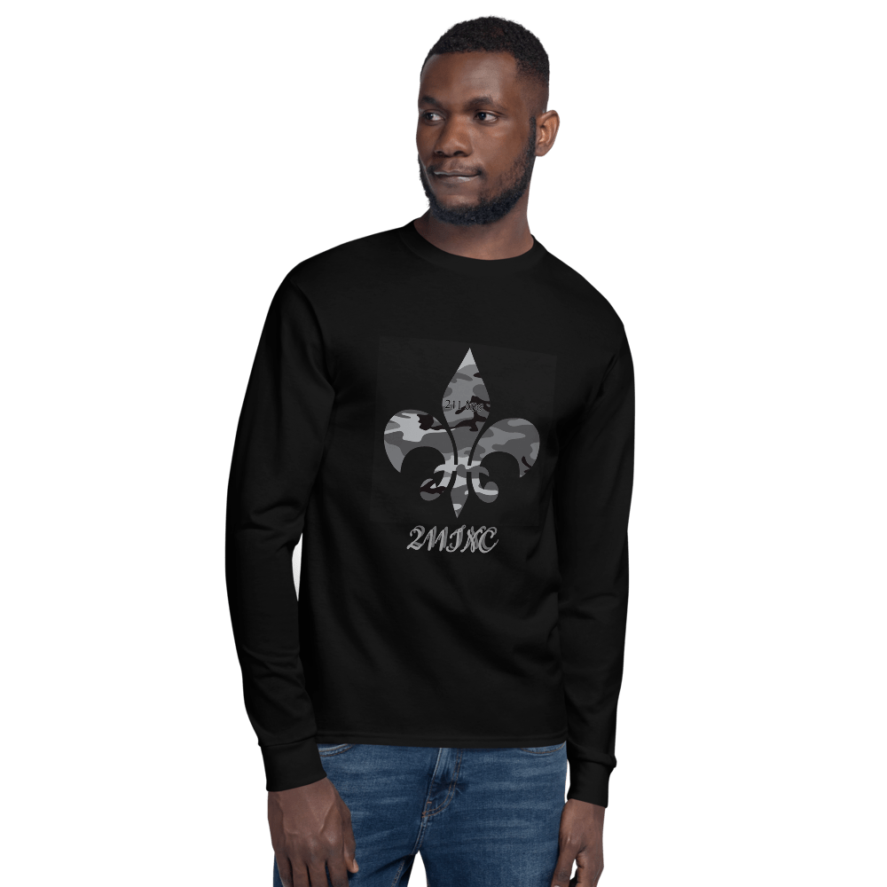 211INC Men's Camo Fleur Black Long Sleeve Shirt - 211 INC