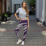 211INC Womens Purple Grey Tiger Stripe Leggings - 211 INC