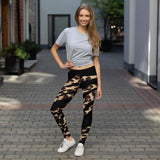 211INC Womens Blk Leopard Stripe Leggings - 211 INC