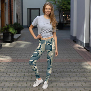 Womens Green Camouflage  Leggings - 211 INC