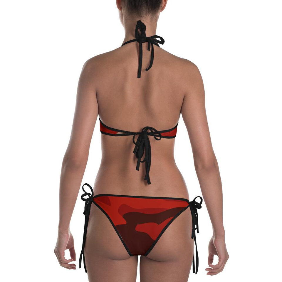 211inc Womens Red Camouflage Two Piece Bikini Swimsuit - 211 INC