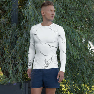 211INC Mens White Marble Rash Guard Shirt - 211 INC