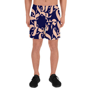 211INC Men's Spoken Word Blue/Salmon Long Shorts - 211 INC