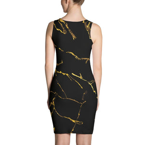 Womens Black n Gold Marble Fitted Cut & Sew Dress - 211 INC