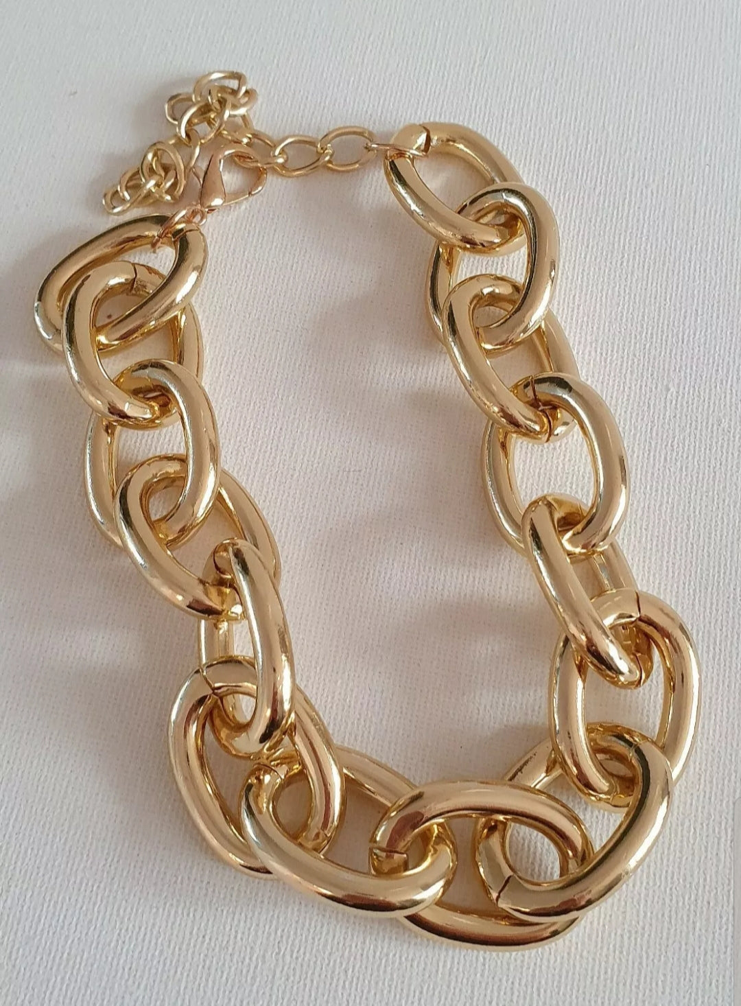 Gold plated chunky chain choker necklace