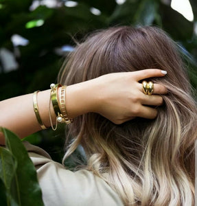 Gold chunky egg style statement ring