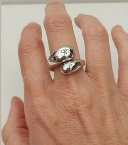 Silver chunky twist dome ring