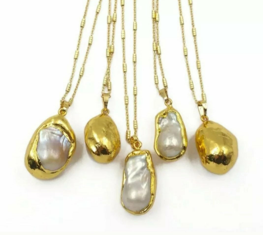 Gold Plated Large Baroque Freshwater Pearl Necklace