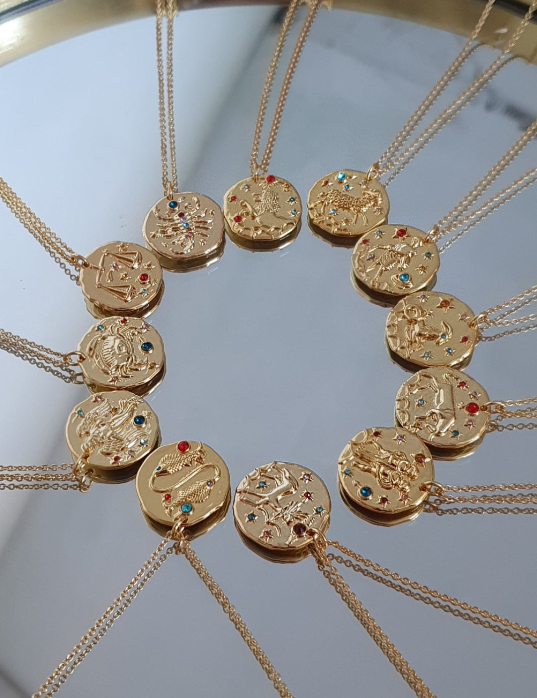 Gold Plated Jewel Zodiac Star Sign Necklace