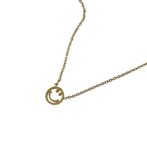 18k gold plated smiley face chain necklace