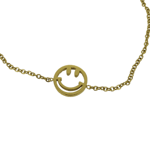 18k gold plated smiley face chain bracelet