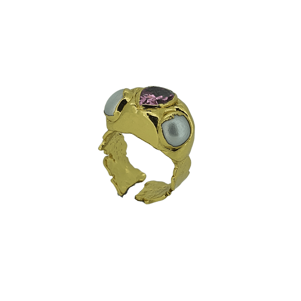 18k gold plated hammered purple cz crystal pearl ring