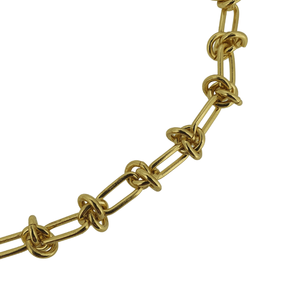 18k gold plated knot chain necklace