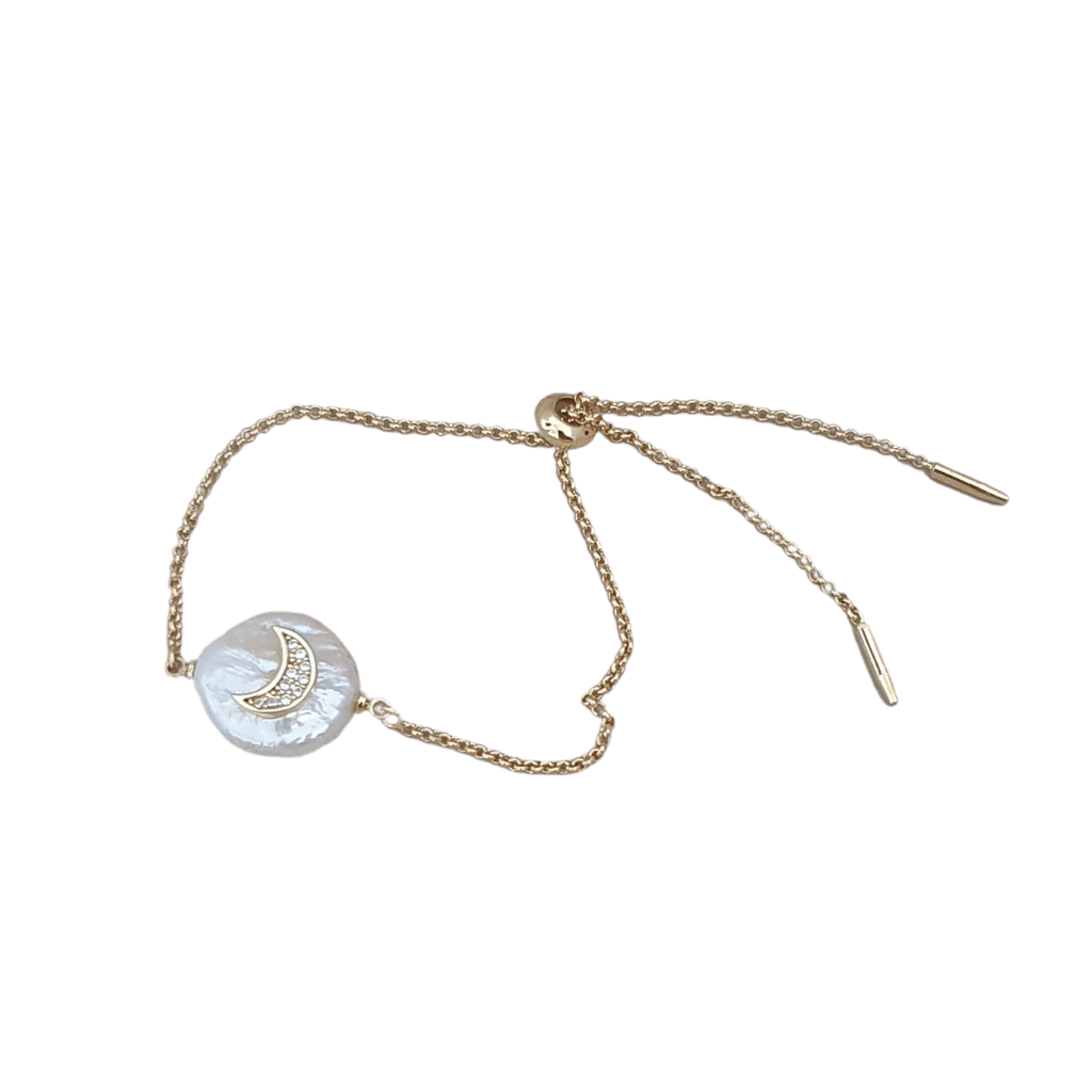 24K gold plated seed pearl crystal moon bracelet