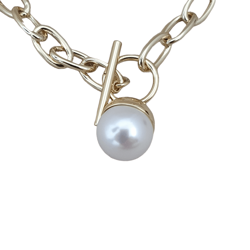 18k gold plated baroque pearl ball chain necklace