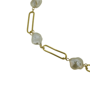 18k gold plated freshwater pearl lock necklace
