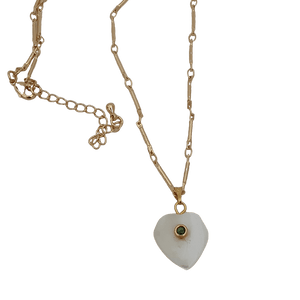 18k gold plated green cz crystal heart shell necklace