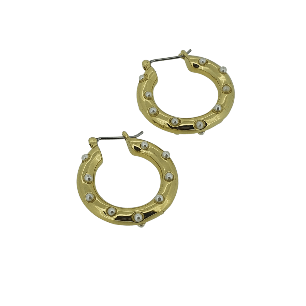 Gold plated small pearl hoops