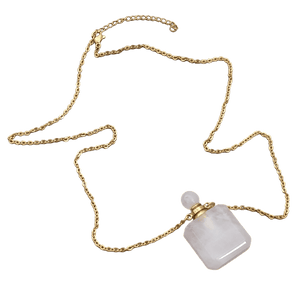 18k gold plated natural gem stone perfume bottle necklace