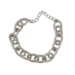 Silver chunky chain choker necklace
