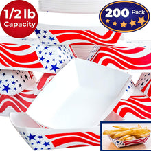 Heavy Duty, Grease Resistant .5 Lb US Flag Paper Food Tray 200 Pack. Recyclable Coated Paperboard Basket for Carnivals, Concession Stands or Fairs. Serve Hot Dogs, Popcorn and Nachos. Made In The USA