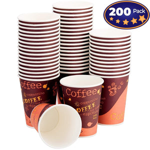 Restaurant Grade 12 Oz Paper Coffee Cups. 200 Pack By Avant Grub. BPA Free Disposable Cups For Hot and Cold Drinks. Serve Teas, Sodas, Ciders and More At Kiosks, Shops, Cafes, and Concession Stands.