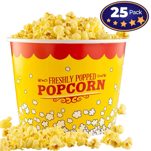 Premium Leak-Free 85 Oz Disposable Popcorn Cup 25 Pack By Avant Grub. Stackable Buckets With Fun Design. Great For Concession Stands, Carnivals, Fundraisers, School Events, Or Family Movie Nights.