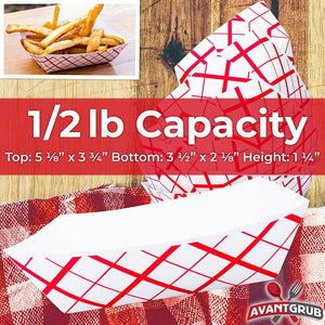 Heavy Duty, Grease Resistant .5 Lb Paper Food Trays 200 Pack. Recyclable, Coated Paperboard Basket Ideal for Festival, Carnival and Concession Stand Treats Like Fries, Ice Cream and Chicken Tenders