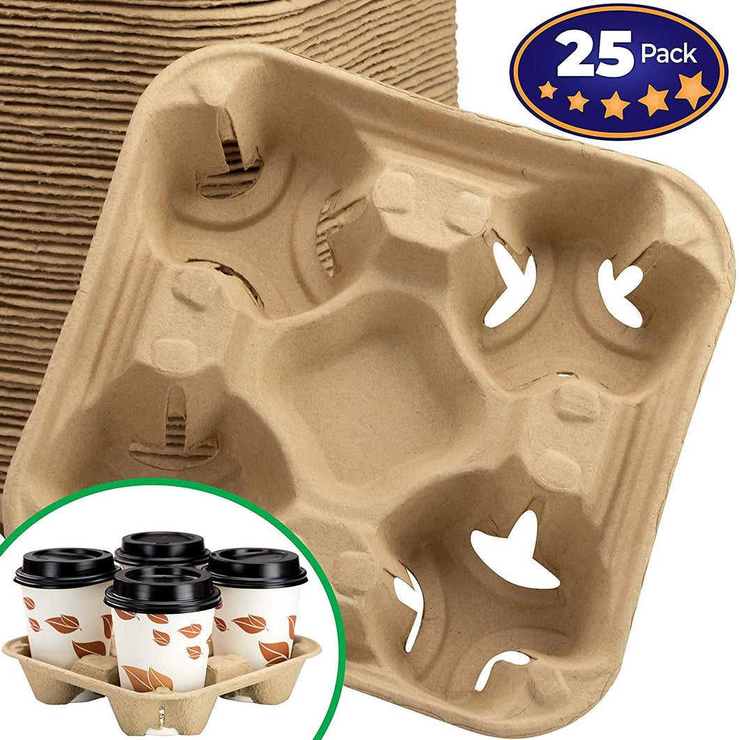 Premium Biodegradable 4 Cup Carrier 25 Pack by Avant Grub. Compostable, Pulp Fiber Tray For Hot and Cold Drinks. Eco-Friendly and Stackable To Keep Soda, Coffee and Other Beverages From Spilling