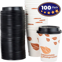 Biodegradable and Compostable 12 Oz Paper Coffee Cups And Recyclable Dome Lids. 100 Pack By Avant Grub. Medium Sized, PLA Lined Disposable Beverage Cups For Hot Drinks At Shops, Kiosks, Cafes and More