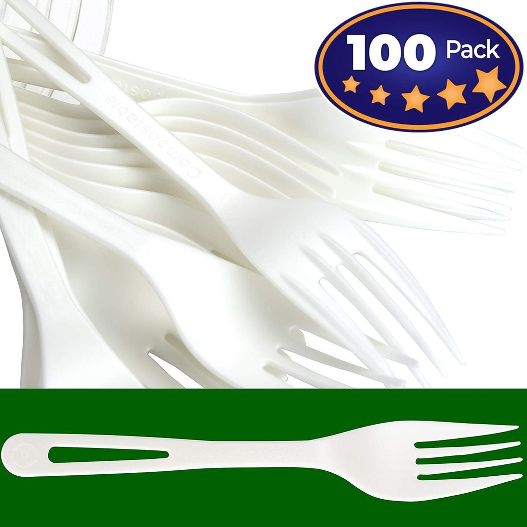 Biodegradable Forks Made From Non-GMO Plant-Based Plastic 100 Pack. Sturdy Utensils are Certified Compostable, Disposable, Eco-Friendly Cutlery With No Wood Taste. Safe for Hot and Cold Foods!