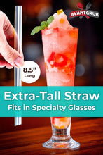 100 Pack of Extra Wide Straws with Pointed End for Spearing Fruit or Boba Tea Bubbles. Each Striped, Individually Wrapped, BPA-Free 8.5in Long Straight Straw is Great for Tall Milkshakes or Smoothies!