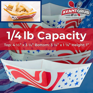 Heavy Duty, Grease Resistant .25 Lb US Flag Paper Food Tray 200 Pack. Recyclable Coated Paperboard Basket for Carnivals, Concession Stands or Fairs. Serve Hot Dogs, Popcorn and Nachos. Made In The USA